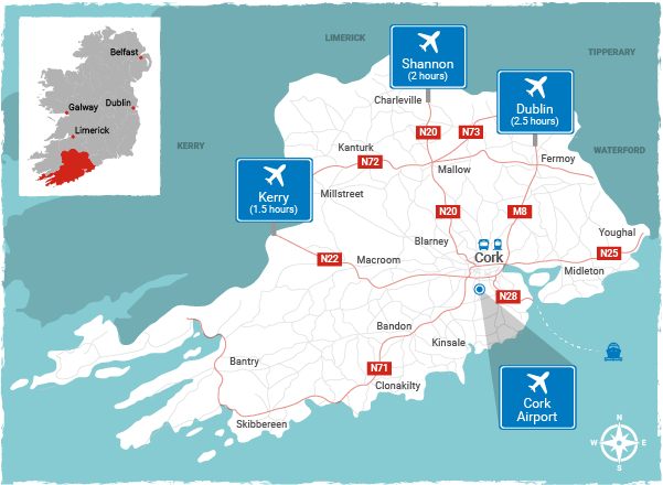 Map Of Ireland East Coast.Pure Cork Official Tourism Website For Cork Ireland